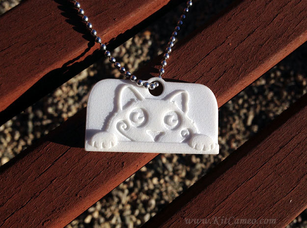 Voyeur Cat Pendant in White Natural Versatile Plastic