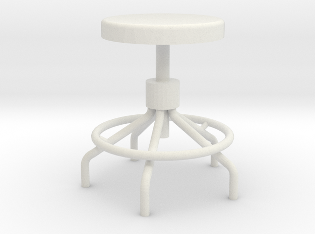 Miniature Sputnick Stool 1:18scale (not full size) in White Natural Versatile Plastic