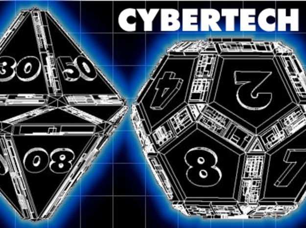 CYBERTECH Futuristic Outie Bevels Dice plus Coin 3d printed