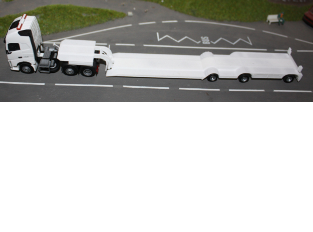 000083 Special trailer Sweden Norway HO !:87 in White Natural Versatile Plastic