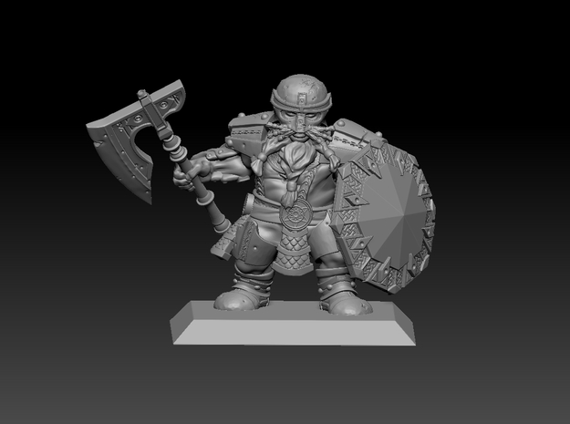 Dwarf Warrior 35mm Nº 1 in Smooth Fine Detail Plastic