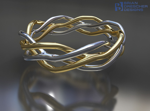 Roman Wave Ring 3d printed
