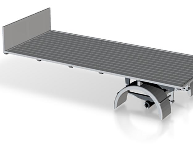 1:43 Single AxleTrailer in White Processed Versatile Plastic