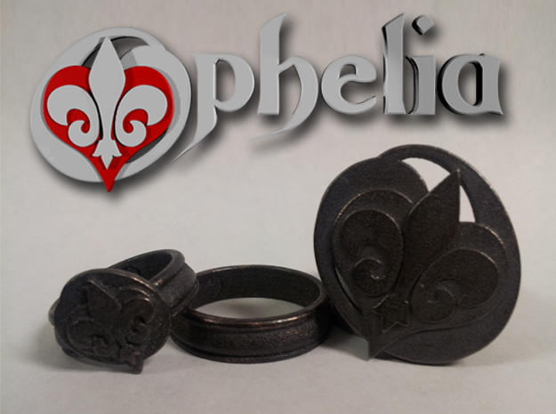 Ophelia Ring 2 - Select a Size in Polished Bronzed Silver Steel