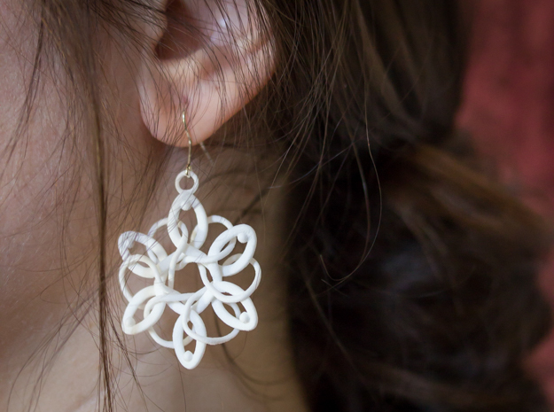 Knotted Hexagonal Earrings in White Strong & Flexible Polished