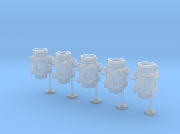 1/24 scale B94 Hydrant Valve Set of 5 in Frosted Ultra Detail