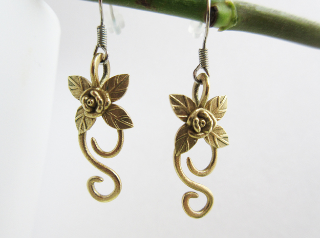 Rose Earrings in Raw Brass