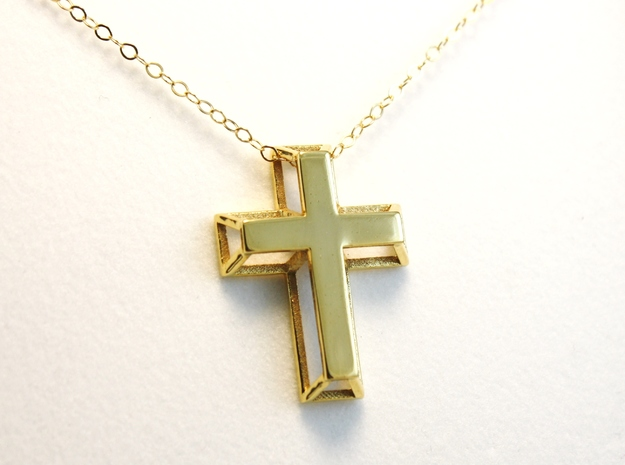 3D Framed Cross Pendant in 18K Gold Plated
