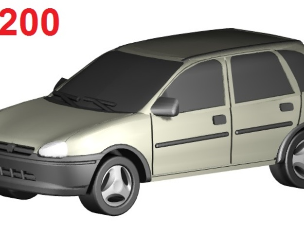 Opel Corsa (1:200) in Smooth Fine Detail Plastic