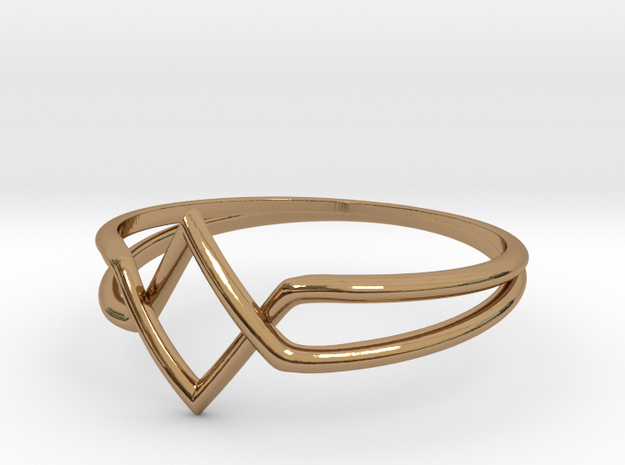 Double V Ring for Vanesa - Size 6 1/2 in Polished Brass