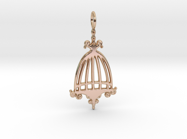 Elegant Birdcage Pendant in 14k Rose Gold Plated