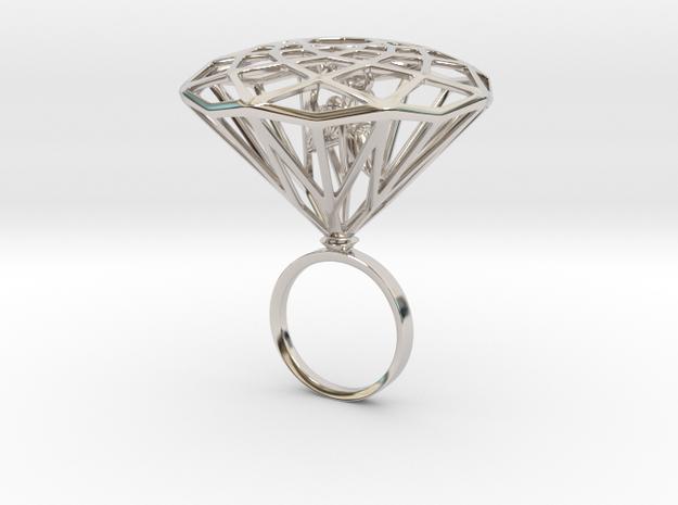 Diamond Bird Steel size 17.5 mm in Rhodium Plated Brass