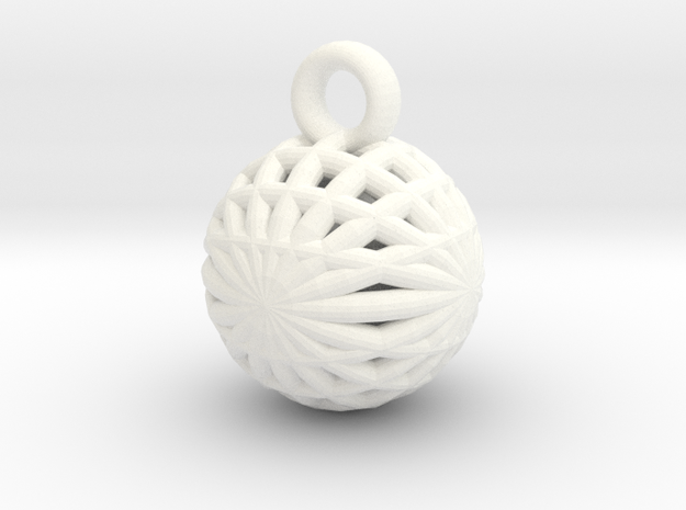 Grid Ball keychain in White Strong & Flexible Polished