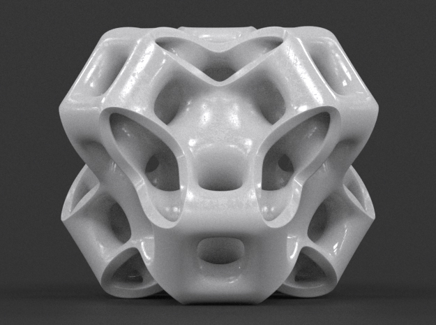 Cubic Gyroid in White Processed Versatile Plastic