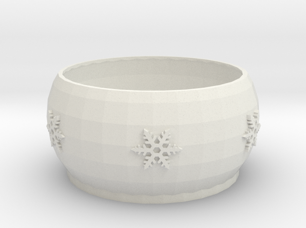 Snow Flake bowl  in White Strong & Flexible