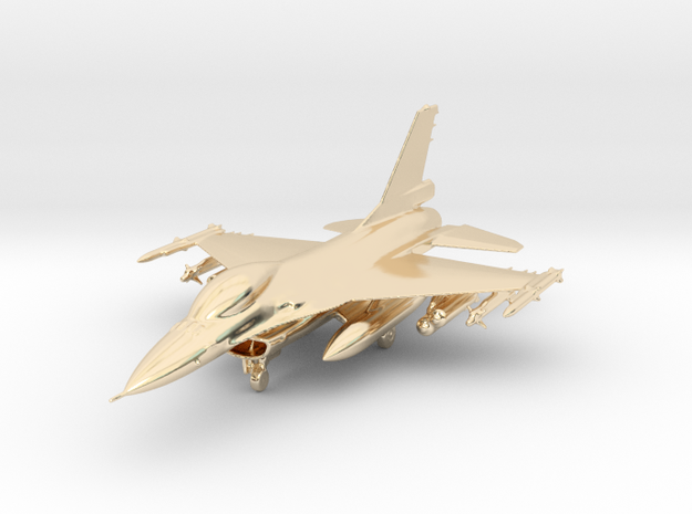 F-16 Fighting Falcon Jet Gold & Precious materials in 14k Gold Plated Brass
