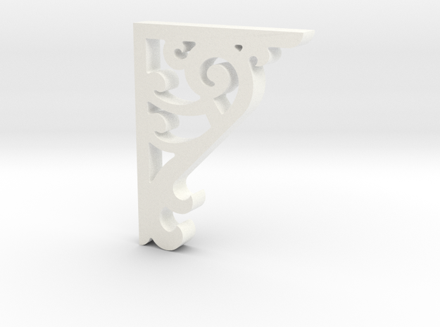 Victorian Corner Bracket - 002 1:12 Scale in White Strong & Flexible Polished