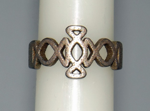 Igraine Ring Size 6 in Polished Bronzed Silver Steel