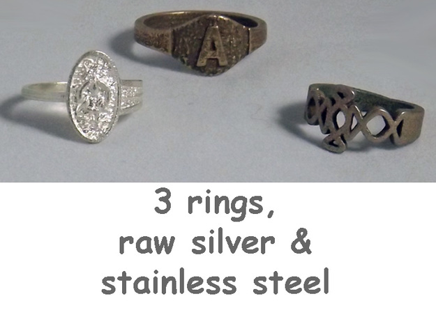 Textural Initial A Ring Size 11 3d printed Group of rings includes Initial A in stainless steel.