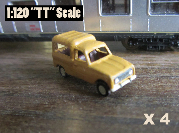 Renault 4 L van 1:120 scale (Lot of 4 cars) in Smooth Fine Detail Plastic