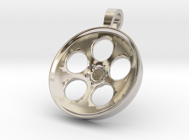 Vossen LC103 KeyChain Pendant 35mm in Rhodium Plated Brass