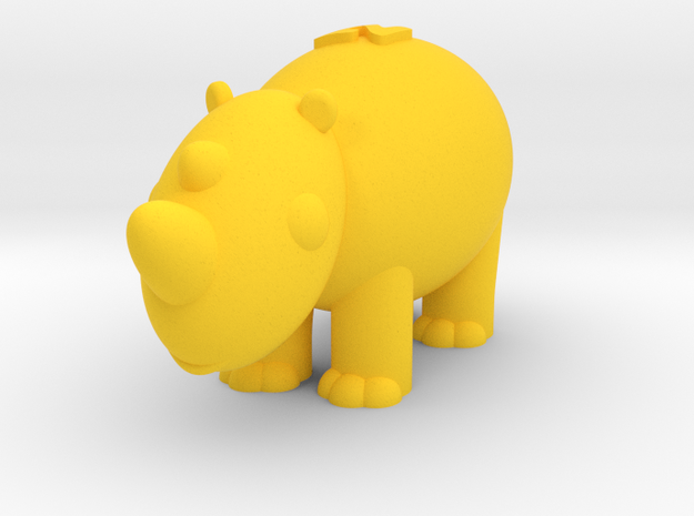 Rhinoceros (Nikoss'Animals) in Yellow Strong & Flexible Polished