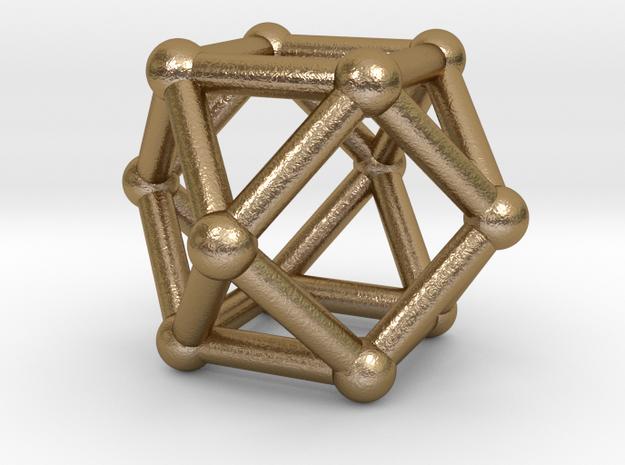 0281 Cuboctahedron V&E (a=1cm) #002 in Polished Gold Steel