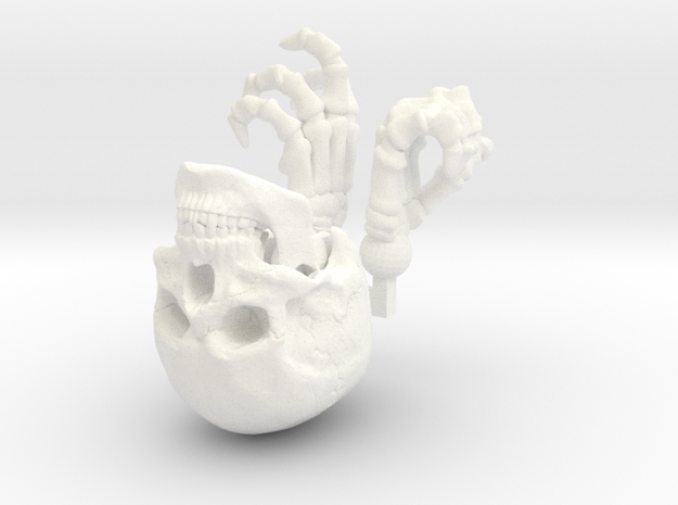 SL01-Head and Hands in White Processed Versatile Plastic