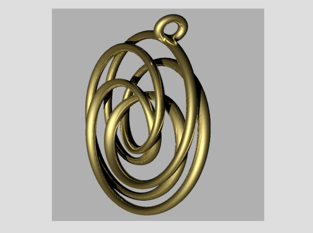 Pendant toroid camelia  in 14k Gold Plated