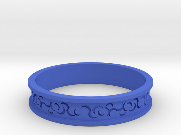 Curls Ring in Blue Processed Versatile Plastic
