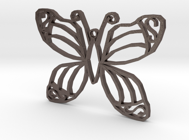 Butterfly Pendant in Polished Bronzed Silver Steel