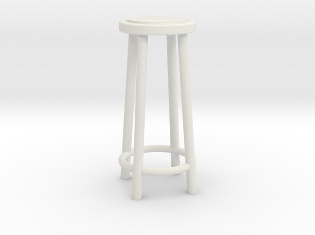 """1:48 34"""" Simple Stool in White Strong & Flexible"""