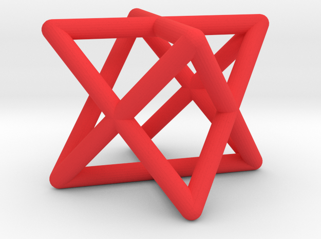 Mini-Merkaba - Rounded - 1cm in Red Processed Versatile Plastic