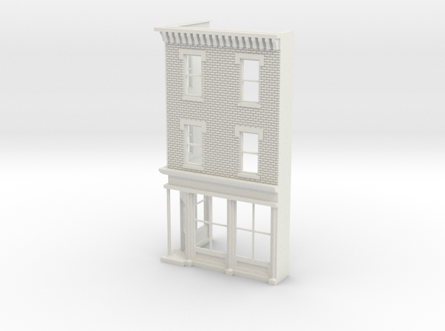 Philadelphia Corner store Front O scale  3 stories in White Strong & Flexible
