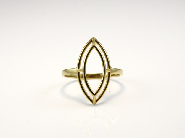 Marquise Simple Wire Ring - US Size 09 in 18k Gold Plated Brass