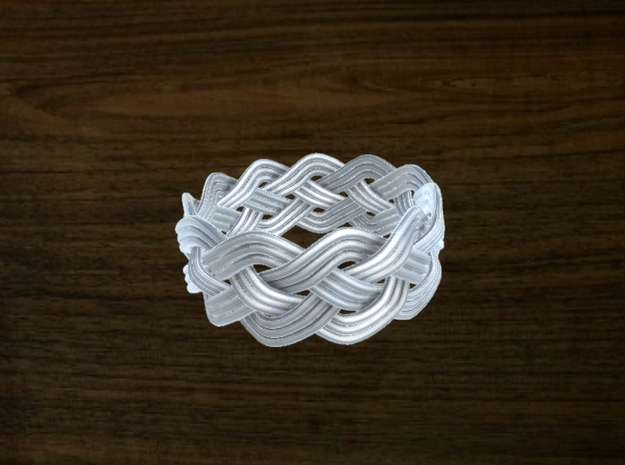 Turk's Head Knot Ring 4 Part X 11 Bight - Size 13. in White Natural Versatile Plastic