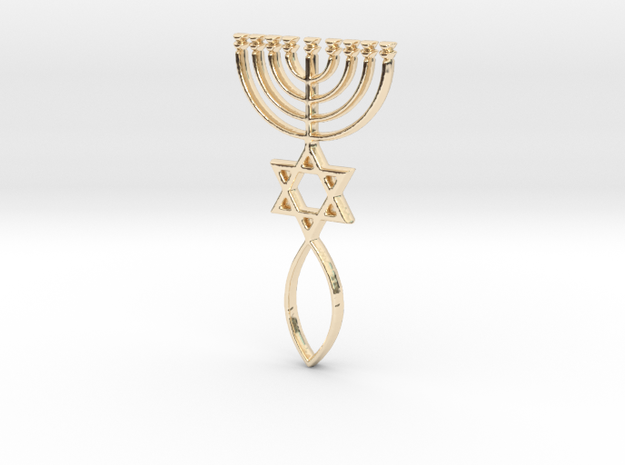 Messianic Seal Pendant in 14K Yellow Gold