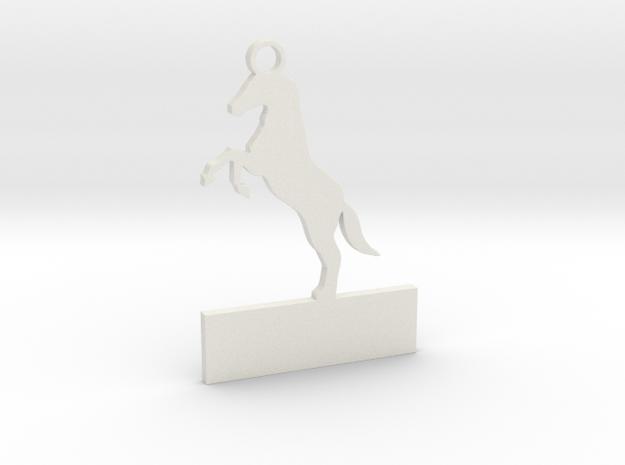 Custom horse keychain in White Natural Versatile Plastic