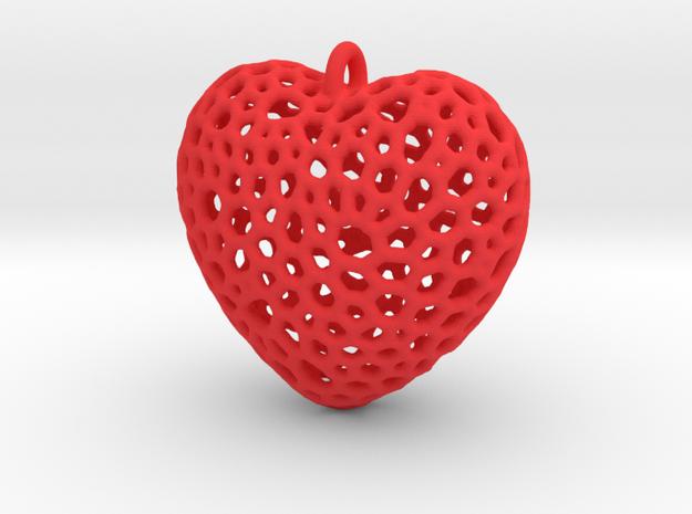 Heart Pendant #1 in Red Processed Versatile Plastic