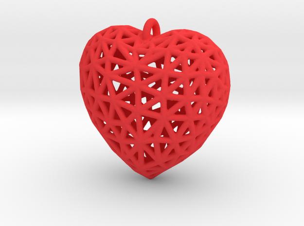 Heart Pendant #2 in Red Processed Versatile Plastic