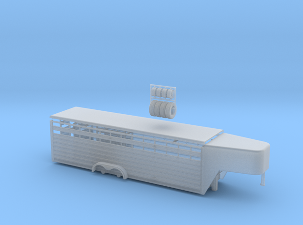 1/64 28' Cattle Trailer Slat Style (door on left s in Smooth Fine Detail Plastic