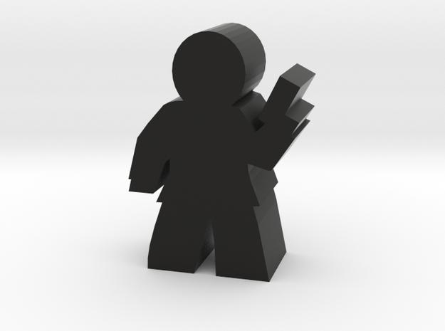 Agent Hero Meeple, Suit with Gun in Black Natural Versatile Plastic