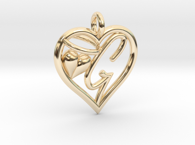 HEART G in 14k Gold Plated Brass