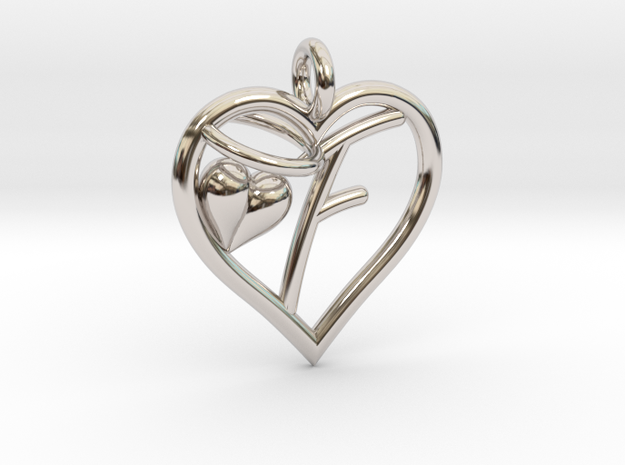 HEART F in Rhodium Plated Brass