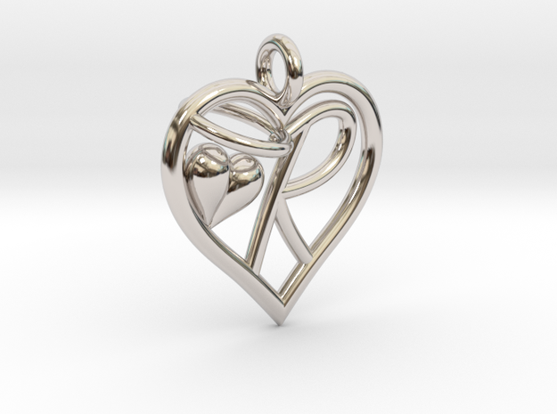 HEART R in Rhodium Plated Brass