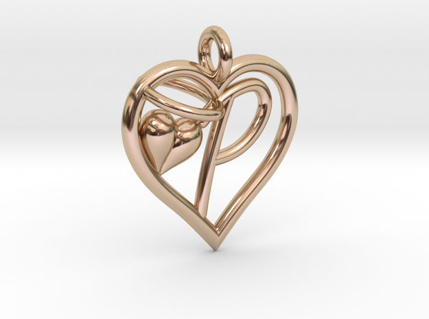 HEART P in 14k Rose Gold Plated