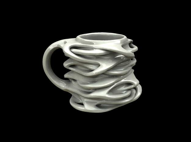 "Interwebs mug 3d printed ceramic render of ""interconnected mug"""