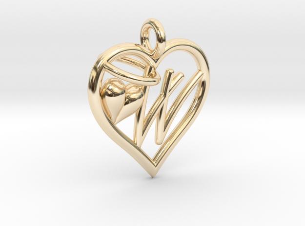HEART W in 14k Gold Plated Brass