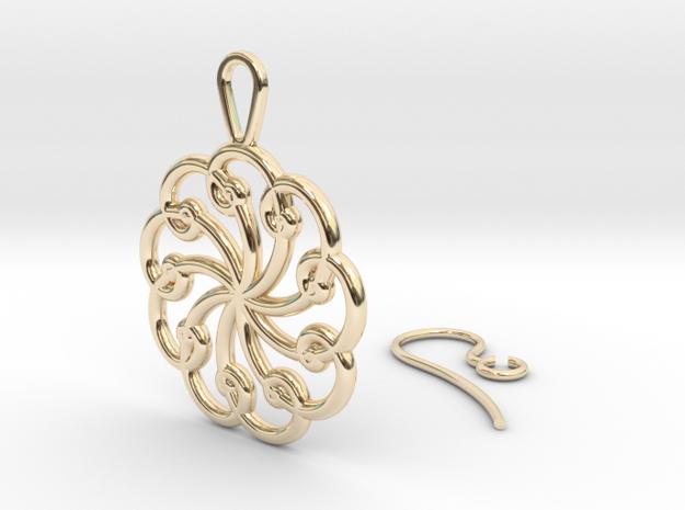 Fibonacci Earring 9 in 14k Gold Plated Brass