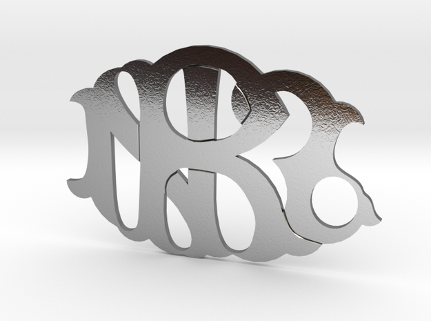 NZR monogram badge in Polished Silver